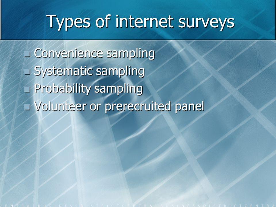 Types of internet surveys Convenience sampling Convenience sampling Systematic sampling Systematic sampling Probability sampling Probability sampling Volunteer or prerecruited panel Volunteer or prerecruited panel