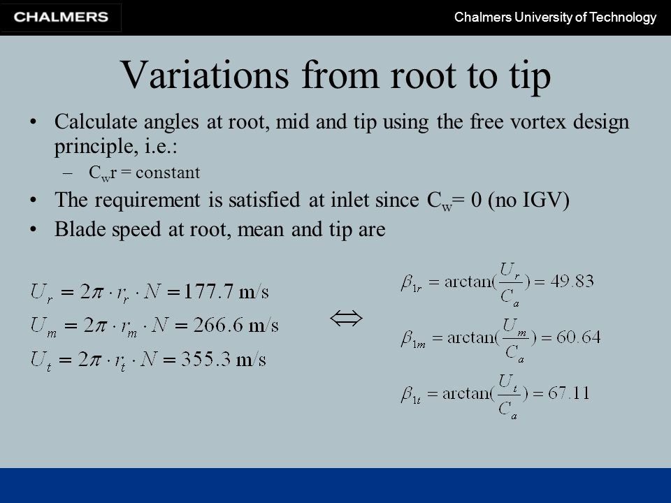 Chalmers University of Technology Variations from root to tip Calculate angles at root, mid and tip using the free vortex design principle, i.e.: – C