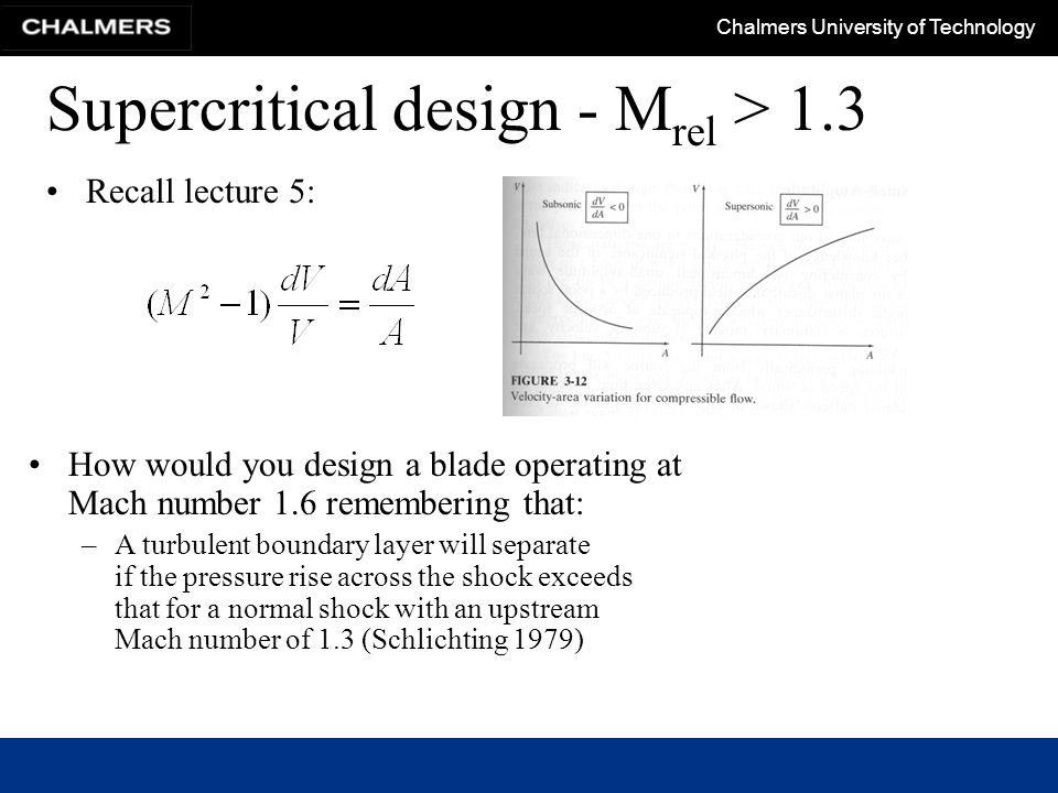 Chalmers University of Technology Supercritical design - M rel > 1.3 Recall lecture 5: How would you design a blade operating at Mach number 1.6 remem