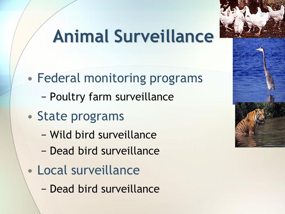 Animal Surveillance Federal monitoring programs −Poultry farm surveillance State programs −Wild bird surveillance −Dead bird surveillance Local surveillance −Dead bird surveillance