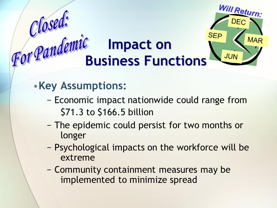Impact on Business Functions Key Assumptions: − Economic impact nationwide could range from $71.3 to $166.5 billion − The epidemic could persist for two months or longer − Psychological impacts on the workforce will be extreme − Community containment measures may be implemented to minimize spread Will Return: SEP MAR DEC JUN