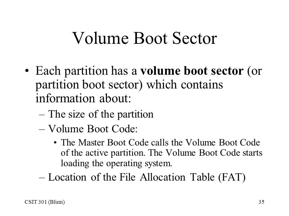 CSIT 301 (Blum)35 Volume Boot Sector Each partition has a volume boot sector (or partition boot sector) which contains information about: –The size of