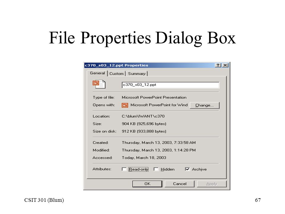 CSIT 301 (Blum)67 File Properties Dialog Box