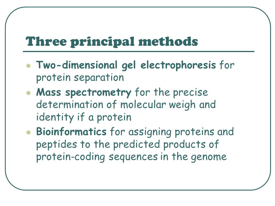 Three principal methods Two-dimensional gel electrophoresis for protein separation Mass spectrometry for the precise determination of molecular weigh