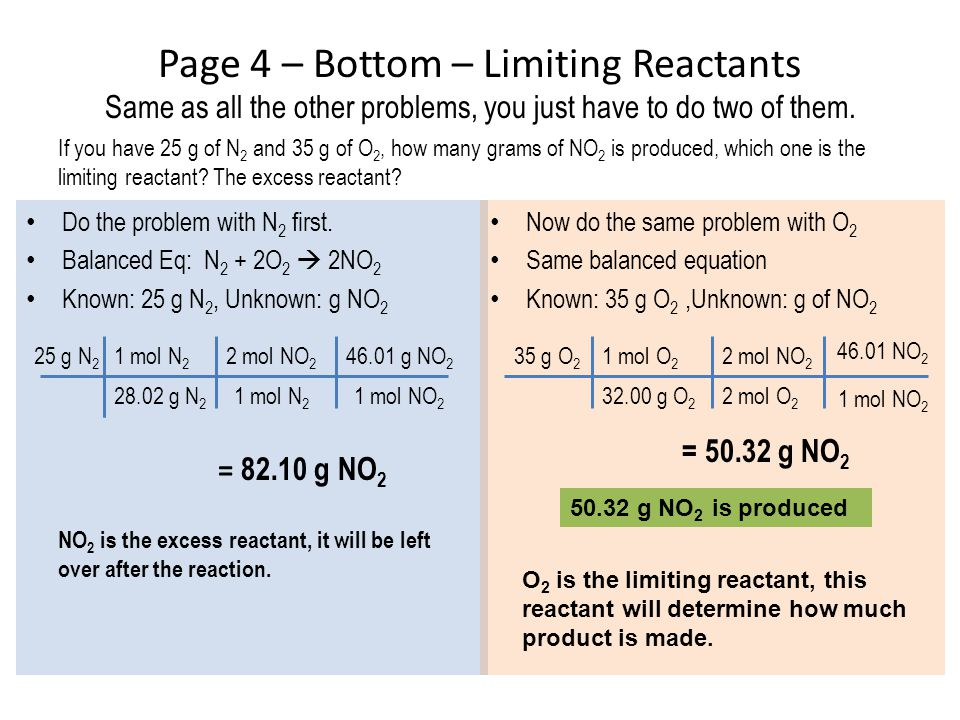 Page 4 – Bottom – Limiting Reactants Same as all the other problems, you just have to do two of them. Do the problem with N 2 first. Balanced Eq: N 2