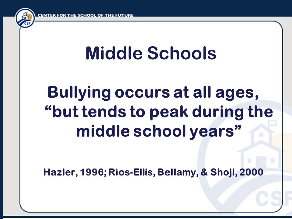 Middle Schools Bullying occurs at all ages, but tends to peak during the middle school years Hazler, 1996; Rios-Ellis, Bellamy, & Shoji, 2000