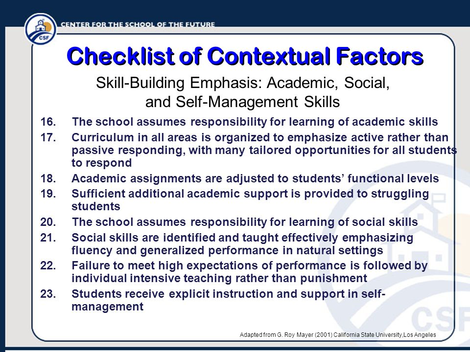 Checklist of Contextual Factors 16.The school assumes responsibility for learning of academic skills 17.Curriculum in all areas is organized to emphasize active rather than passive responding, with many tailored opportunities for all students to respond 18.Academic assignments are adjusted to students' functional levels 19.Sufficient additional academic support is provided to struggling students 20.The school assumes responsibility for learning of social skills 21.Social skills are identified and taught effectively emphasizing fluency and generalized performance in natural settings 22.Failure to meet high expectations of performance is followed by individual intensive teaching rather than punishment 23.Students receive explicit instruction and support in self- management Skill-Building Emphasis: Academic, Social, and Self-Management Skills Adapted from G.