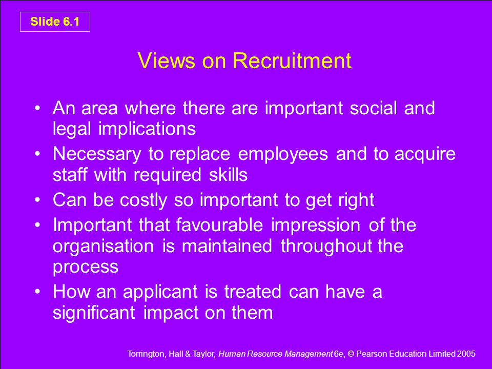 Torrington, Hall & Taylor, Human Resource Management 6e, © Pearson Education Limited 2005 Slide 6.2 Determining Vacancies Is there a vacancy.