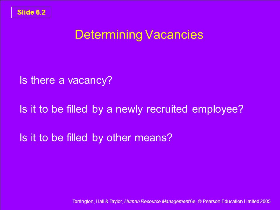 Torrington, Hall & Taylor, Human Resource Management 6e, © Pearson Education Limited 2005 Slide 6.3 Options For Filling Vacancies Re-organise the work Use overtime Mechanise the work Stagger hours Make the job part time Subcontract the work Use an agency