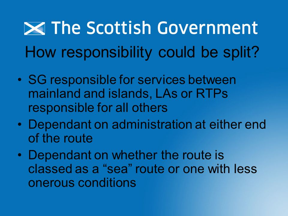 How responsibility could be split.