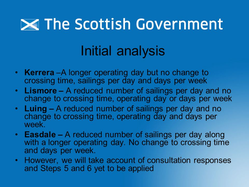 Initial analysis Kerrera –A longer operating day but no change to crossing time, sailings per day and days per week Lismore – A reduced number of sail