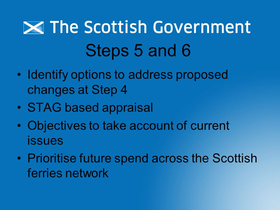 Steps 5 and 6 Identify options to address proposed changes at Step 4 STAG based appraisal Objectives to take account of current issues Prioritise futu