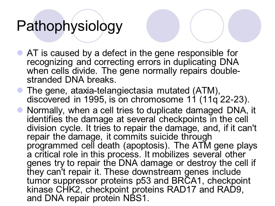 Pathophysiology AT is caused by a defect in the gene responsible for recognizing and correcting errors in duplicating DNA when cells divide.