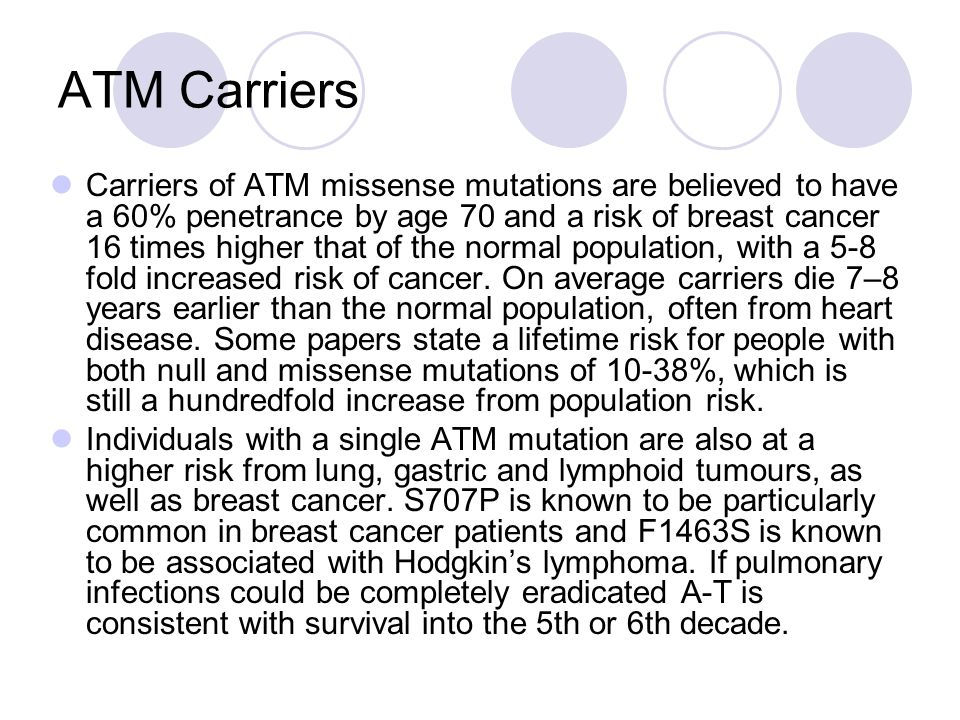 ATM Carriers Carriers of ATM missense mutations are believed to have a 60% penetrance by age 70 and a risk of breast cancer 16 times higher that of the normal population, with a 5-8 fold increased risk of cancer.