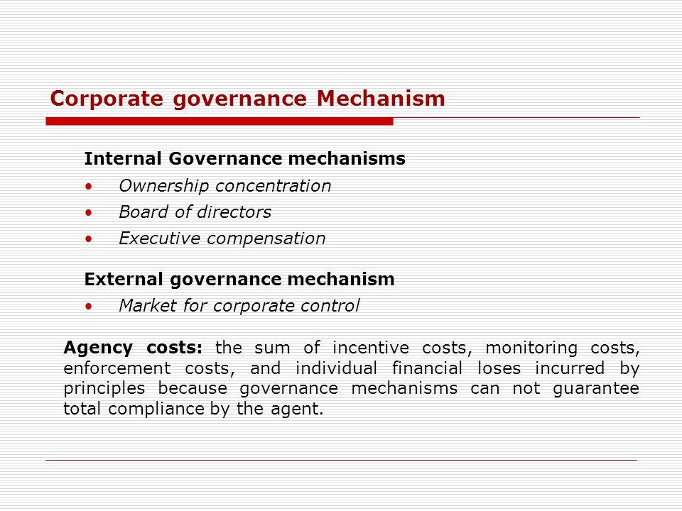 Corporate governance Mechanism Internal Governance mechanisms Ownership concentration Board of directors Executive compensation External governance me