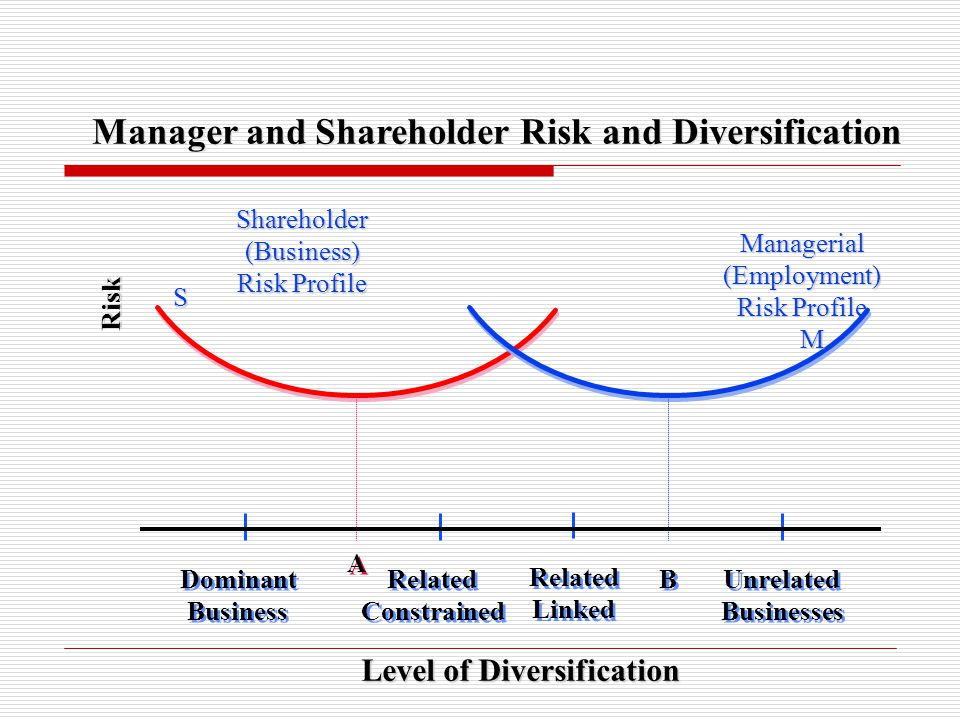 Risk Level of Diversification Manager and Shareholder Risk and Diversification Dominant Business Dominant Business Unrelated Businesses Unrelated Busi