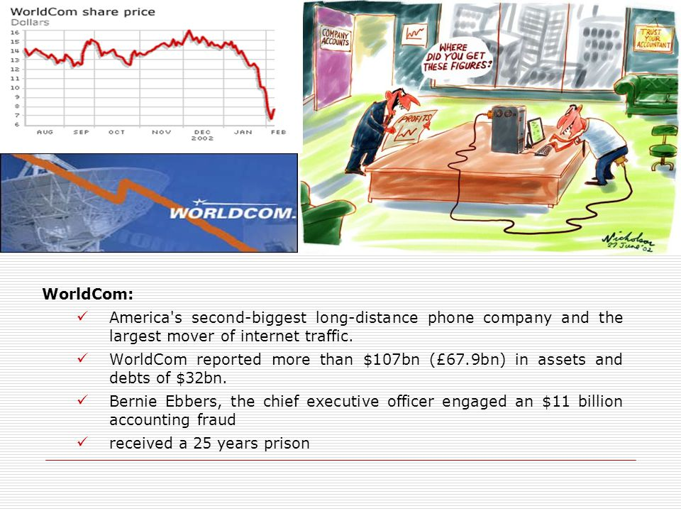 WorldCom: America's second-biggest long-distance phone company and the largest mover of internet traffic. WorldCom reported more than $107bn (£67.9bn)