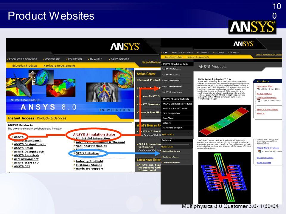 10 0 Multiphysics 8.0 Customer 3.0- 1/30/04 Product Websites