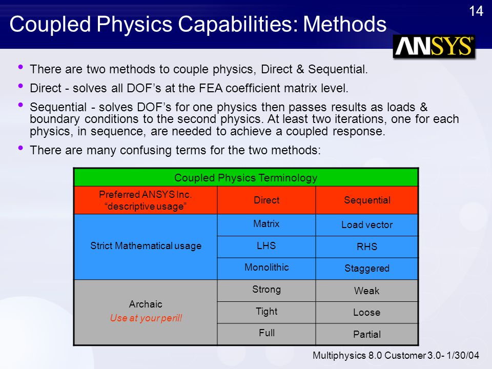 14 Multiphysics 8.0 Customer 3.0- 1/30/04 Coupled Physics Capabilities: Methods There are two methods to couple physics, Direct & Sequential. Direct -