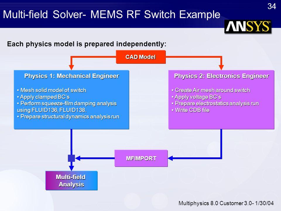 34 Multiphysics 8.0 Customer 3.0- 1/30/04 Multi-field Solver- MEMS RF Switch ExampleMulti-fieldAnalysis Physics 1: Mechanical Engineer Mesh solid mode