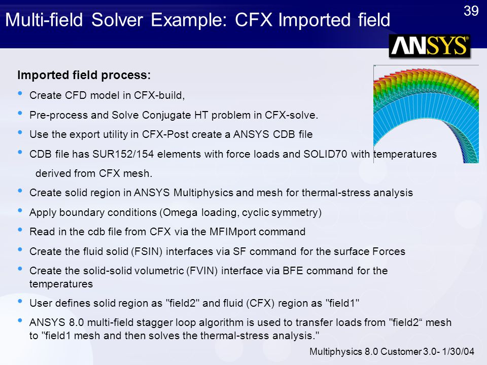 39 Multiphysics 8.0 Customer 3.0- 1/30/04 Multi-field Solver Example: CFX Imported field Imported field process: Create CFD model in CFX-build, Pre-pr