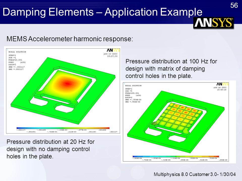 56 Multiphysics 8.0 Customer 3.0- 1/30/04 MEMS Accelerometer harmonic response: Damping Elements – Application Example Pressure distribution at 20 Hz