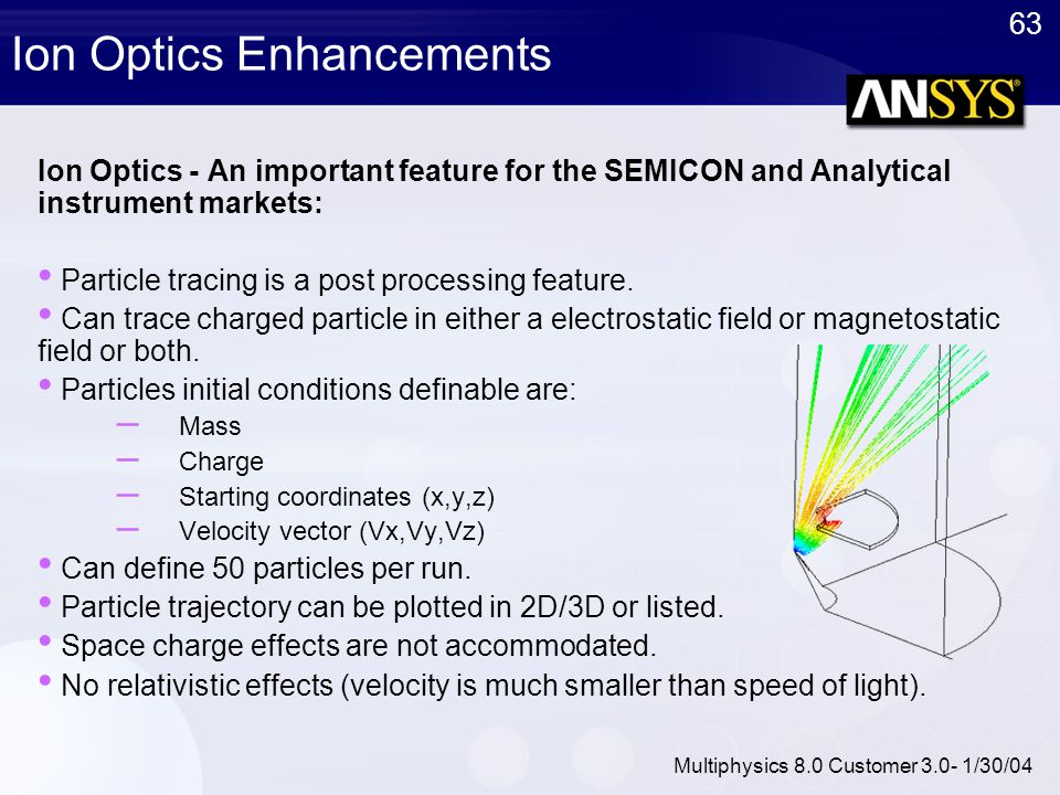63 Multiphysics 8.0 Customer 3.0- 1/30/04 Ion Optics Enhancements Ion Optics - An important feature for the SEMICON and Analytical instrument markets: