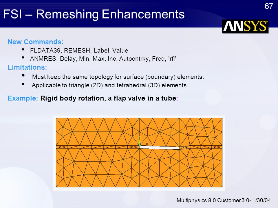 67 Multiphysics 8.0 Customer 3.0- 1/30/04 FSI – Remeshing Enhancements New Commands: FLDATA39, REMESH, Label, Value ANMRES, Delay, Min, Max, Inc, Auto