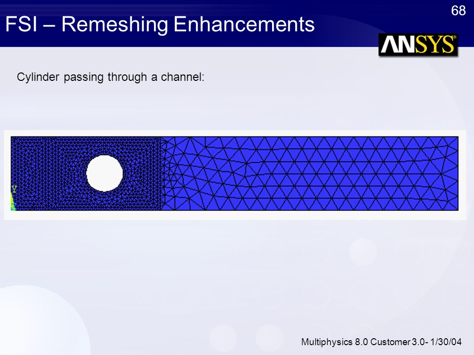 68 Multiphysics 8.0 Customer 3.0- 1/30/04 FSI – Remeshing Enhancements Cylinder passing through a channel: