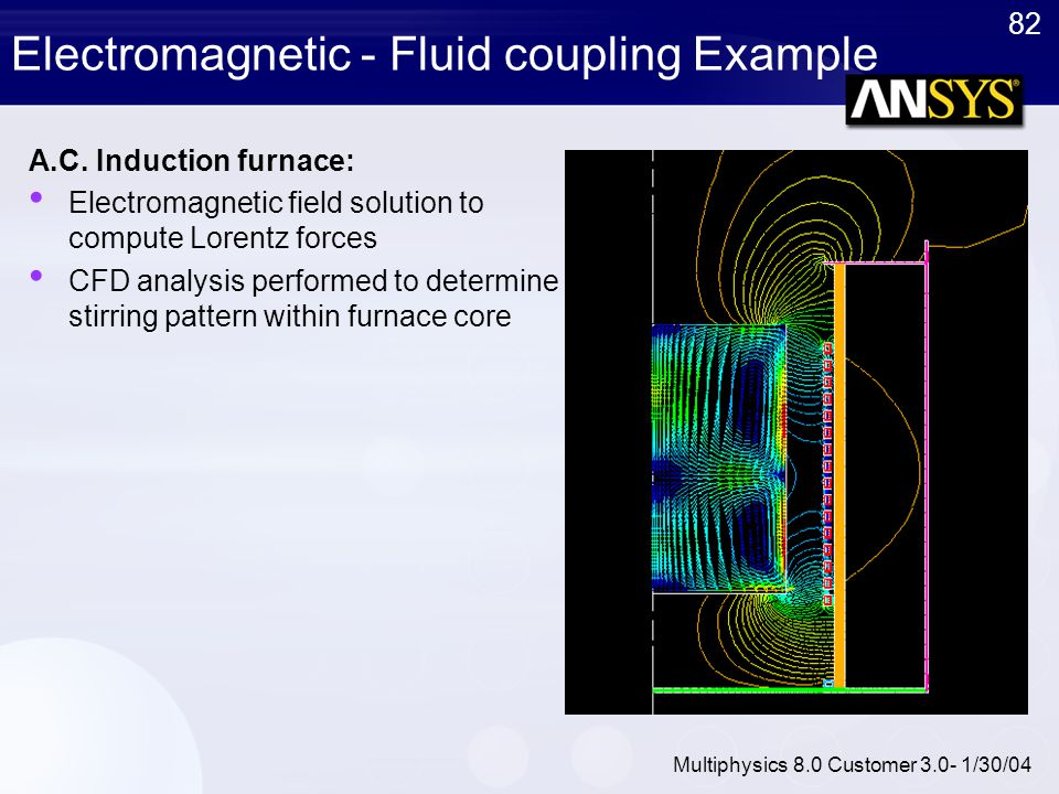 82 Multiphysics 8.0 Customer 3.0- 1/30/04 Electromagnetic - Fluid coupling Example A.C. Induction furnace: Electromagnetic field solution to compute L