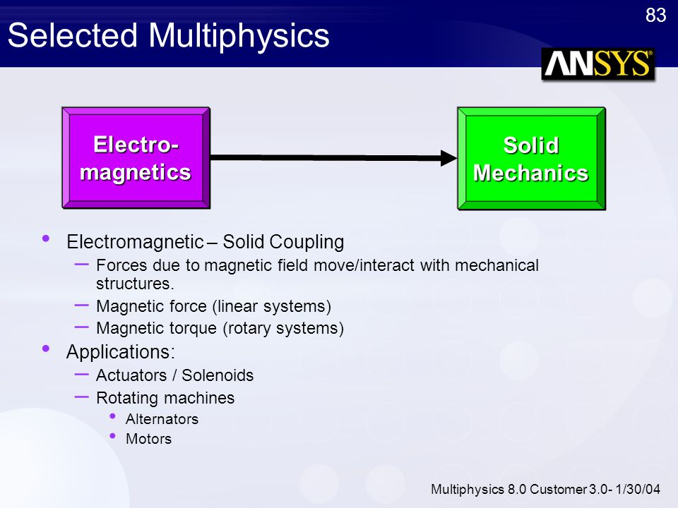 83 Multiphysics 8.0 Customer 3.0- 1/30/04 Selected Multiphysics Electromagnetic – Solid Coupling – Forces due to magnetic field move/interact with mec