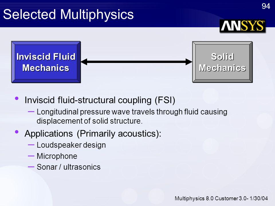 94 Multiphysics 8.0 Customer 3.0- 1/30/04 Selected Multiphysics Inviscid fluid-structural coupling (FSI) – Longitudinal pressure wave travels through