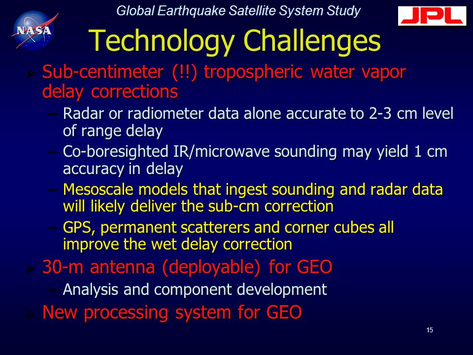 Global Earthquake Satellite System Study 15 Technology Challenges  Sub-centimeter (!!) tropospheric water vapor delay corrections –Radar or radiometer data alone accurate to 2-3 cm level of range delay –Co-boresighted IR/microwave sounding may yield 1 cm accuracy in delay –Mesoscale models that ingest sounding and radar data will likely deliver the sub-cm correction –GPS, permanent scatterers and corner cubes all improve the wet delay correction  30-m antenna (deployable) for GEO –Analysis and component development  New processing system for GEO