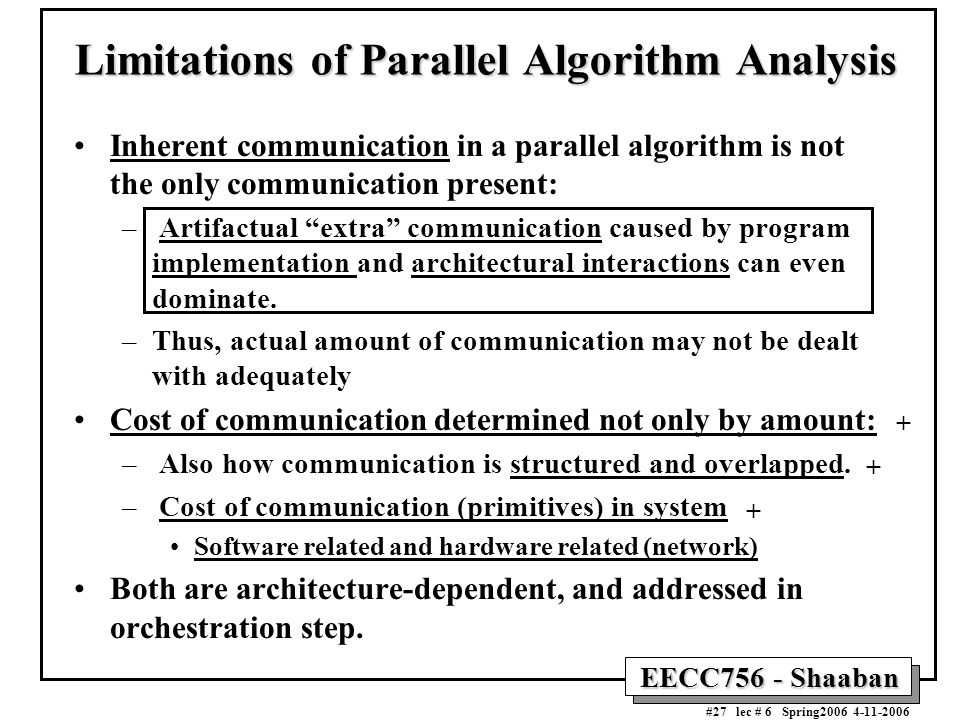 EECC756 - Shaaban #27 lec # 6 Spring2006 4-11-2006 Limitations of Parallel Algorithm Analysis Inherent communication in a parallel algorithm is not th