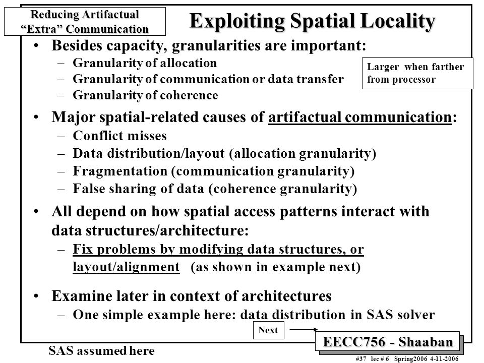 EECC756 - Shaaban #37 lec # 6 Spring2006 4-11-2006 Besides capacity, granularities are important: –Granularity of allocation –Granularity of communica