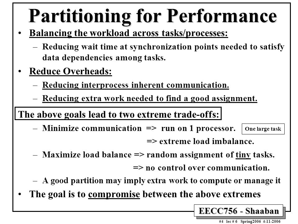 EECC756 - Shaaban #4 lec # 6 Spring2006 4-11-2006 Partitioning for Performance Balancing the workload across tasks/processes: –Reducing wait time at s