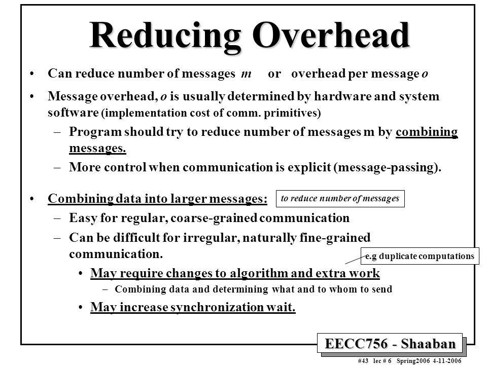 EECC756 - Shaaban #43 lec # 6 Spring2006 4-11-2006 Reducing Overhead Can reduce number of messages m or overhead per message o Message overhead, o is