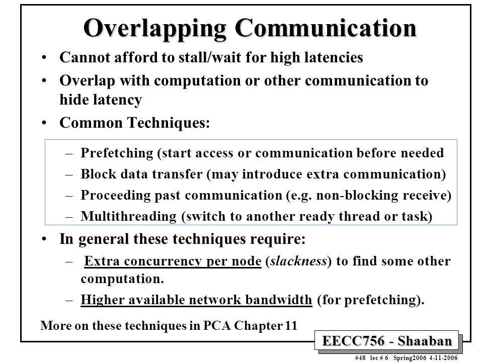 EECC756 - Shaaban #48 lec # 6 Spring2006 4-11-2006 Overlapping Communication Cannot afford to stall/wait for high latencies Overlap with computation o