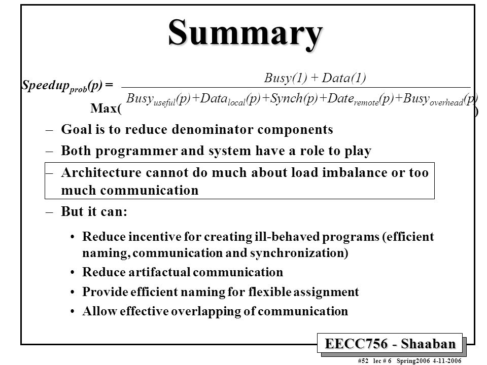 EECC756 - Shaaban #52 lec # 6 Spring2006 4-11-2006 Summary Speedup prob (p) = –Goal is to reduce denominator components –Both programmer and system ha