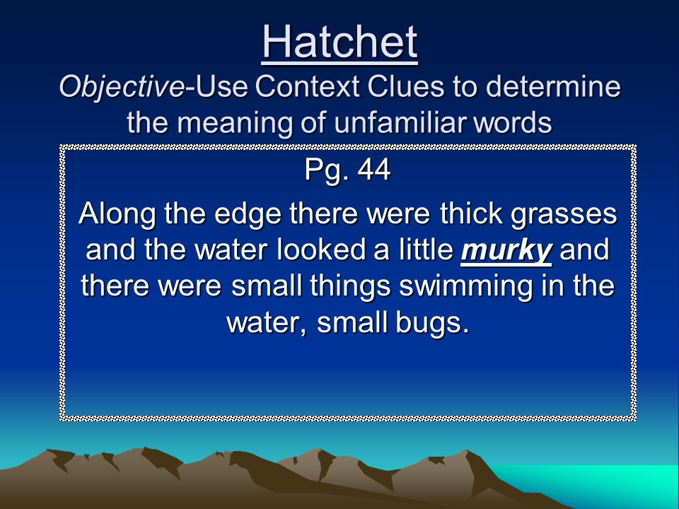 Hatchet Objective-Use Context Clues to determine the meaning of unfamiliar words Pg. 44 Along the edge there were thick grasses and the water looked a