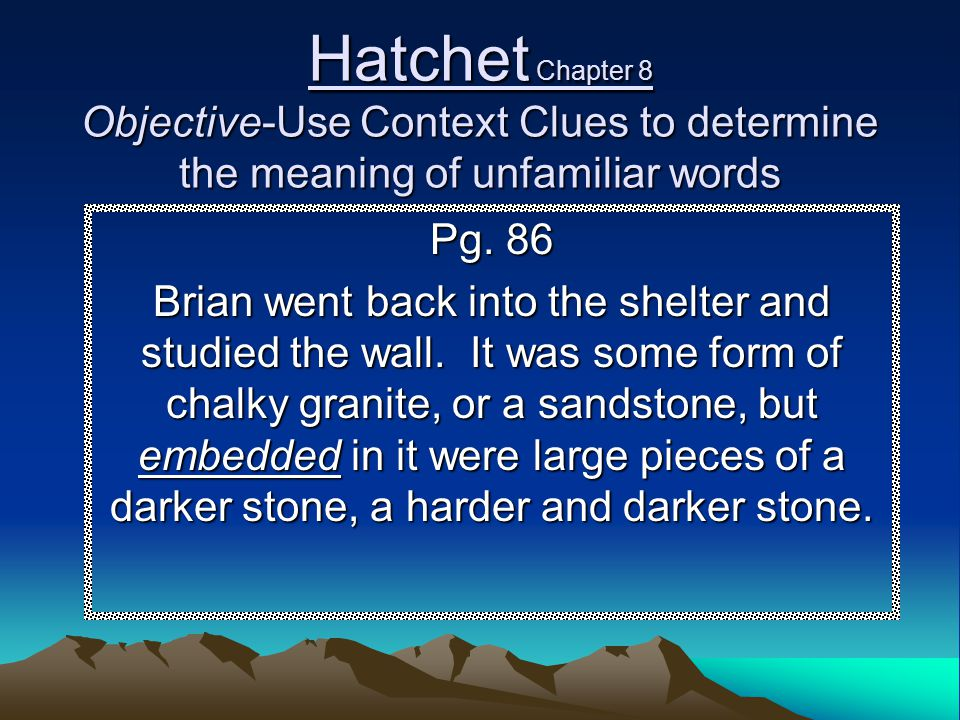 Hatchet Chapter 8 Objective-Use Context Clues to determine the meaning of unfamiliar words Pg. 86 Brian went back into the shelter and studied the wal