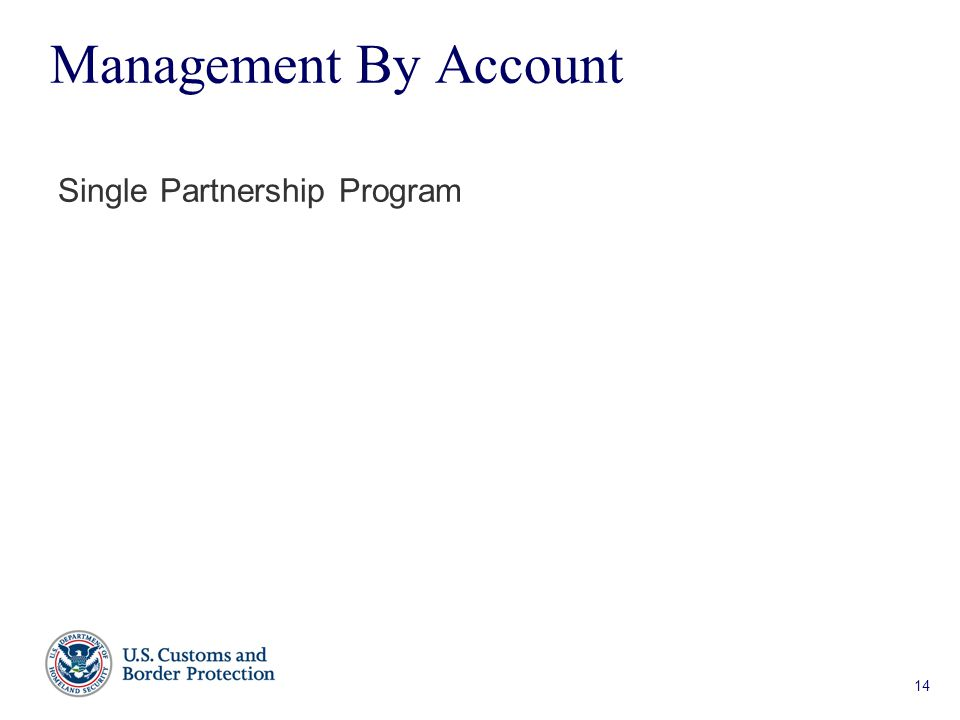 14 Management By Account Single Partnership Program