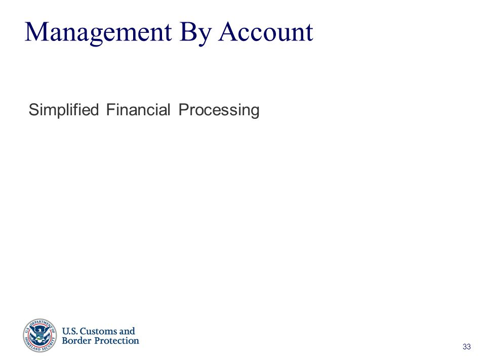 33 Management By Account Simplified Financial Processing