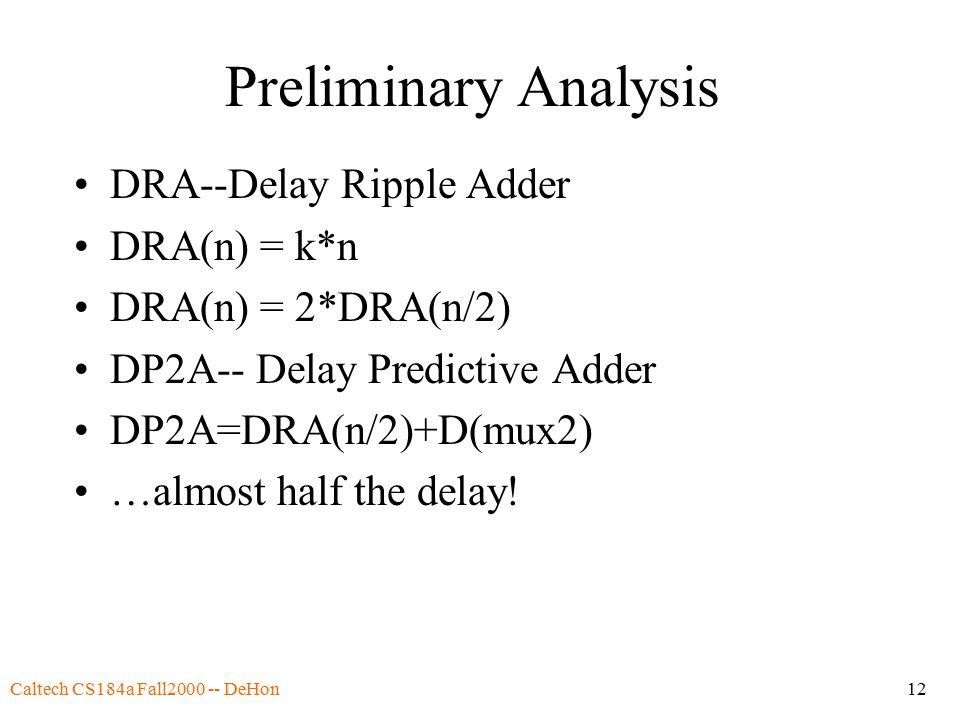 Caltech CS184a Fall2000 -- DeHon12 Preliminary Analysis DRA--Delay Ripple Adder DRA(n) = k*n DRA(n) = 2*DRA(n/2) DP2A-- Delay Predictive Adder DP2A=DRA(n/2)+D(mux2) …almost half the delay!