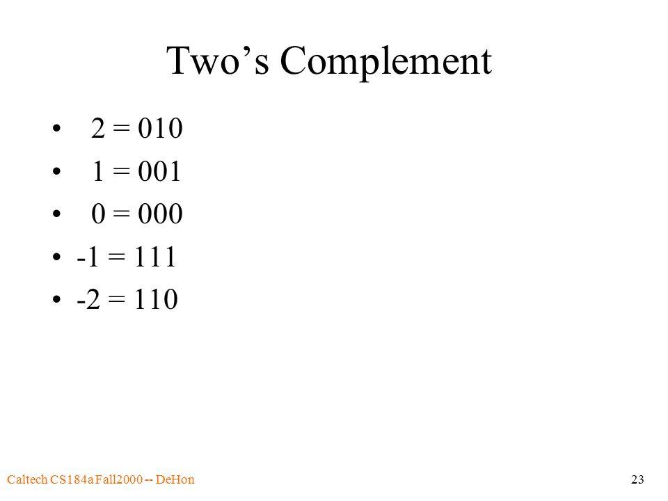 Caltech CS184a Fall2000 -- DeHon23 Two's Complement 2 = 010 1 = 001 0 = 000 -1 = 111 -2 = 110