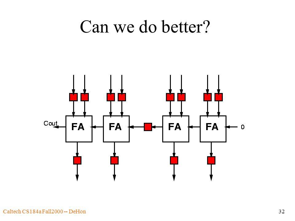 Caltech CS184a Fall2000 -- DeHon32 Can we do better
