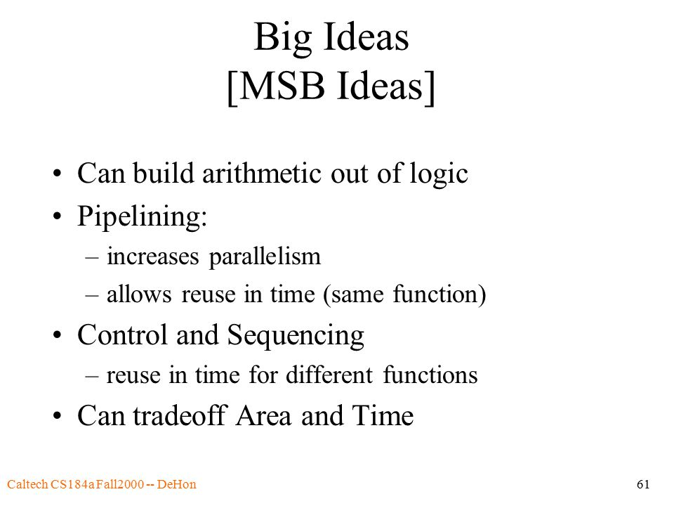 Caltech CS184a Fall2000 -- DeHon61 Big Ideas [MSB Ideas] Can build arithmetic out of logic Pipelining: –increases parallelism –allows reuse in time (same function) Control and Sequencing –reuse in time for different functions Can tradeoff Area and Time