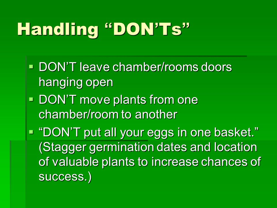 """Handling """"DON'Ts""""  DON'T leave chamber/rooms doors hanging open  DON'T move plants from one chamber/room to another  """"DON'T put all your eggs in on"""