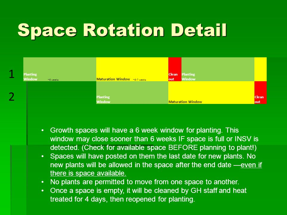 Space Rotation Detail 1 Planting Window ~6 weeks Maturation Window ~6-7 weeks Clean out Planting Window 2 Maturation Window Clean out Growth spaces will have a 6 week window for planting.