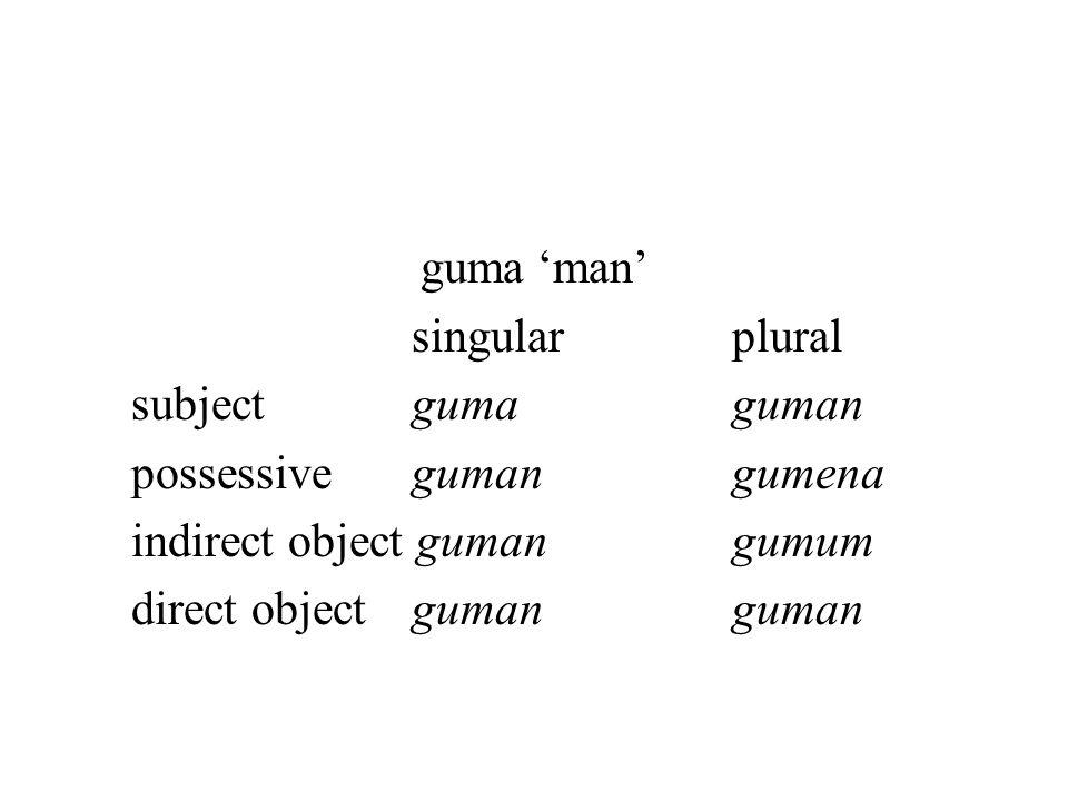 guma 'man' singularplural subjectgumaguman possessivegumangumena indirect object gumangumum direct objectgumanguman